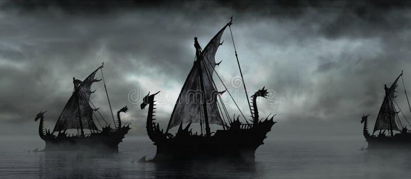 Barche di fantasia nella nebbia illustrazione di stock