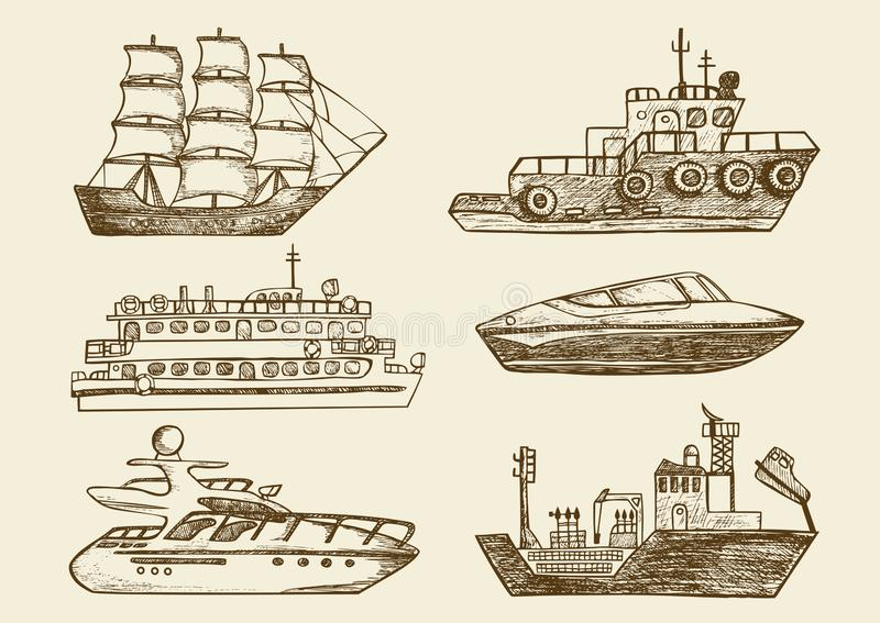 Barche di mare disegnate a mano, navi passeggeri royalty illustrazione gratis