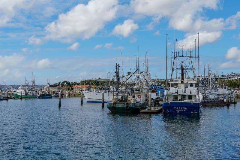 Barche di pesca professionale messe in bacino in San Diego Harbor fotografia stock