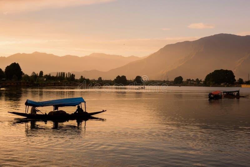 Barche di Shikara su Dal Lake con il tramonto Dal Lake a Srinagar il Jammu e Kashmir immagine stock libera da diritti