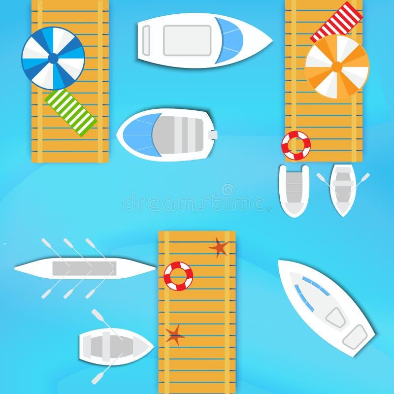 Barche e yacht illustrazione vettoriale