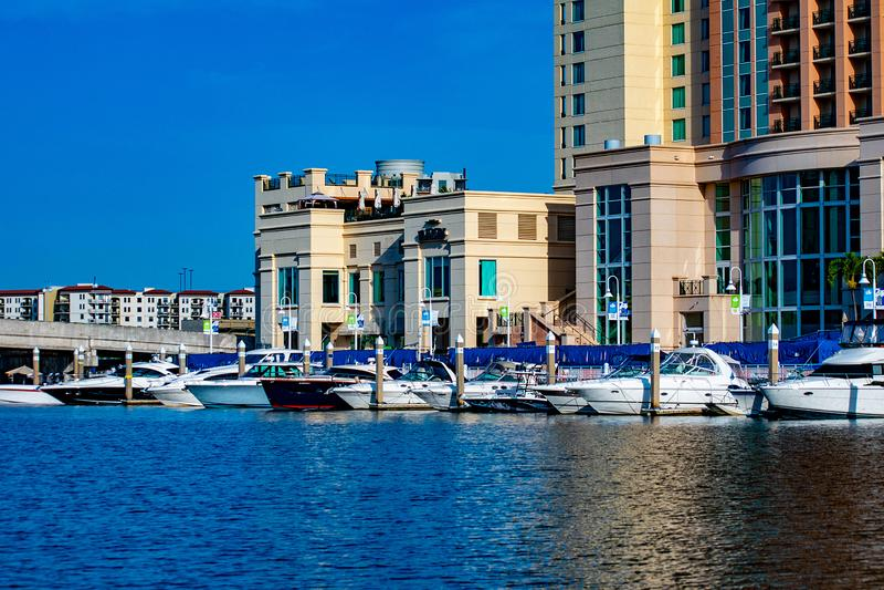 Barche ed hotel di lusso della via dell'acqua di Marriott sul fiume 1 di Hillsborough immagini stock