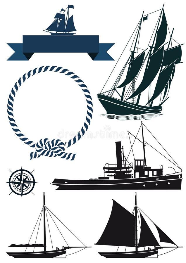 Barche ed insegne marine illustrazione vettoriale