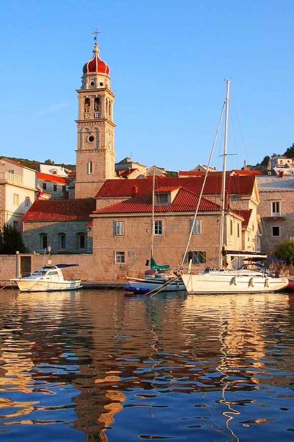 Barche legate ad un porto nel Croatia fotografie stock
