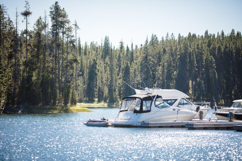 Barche messe in bacino in piccolo porto fotografia stock libera da diritti