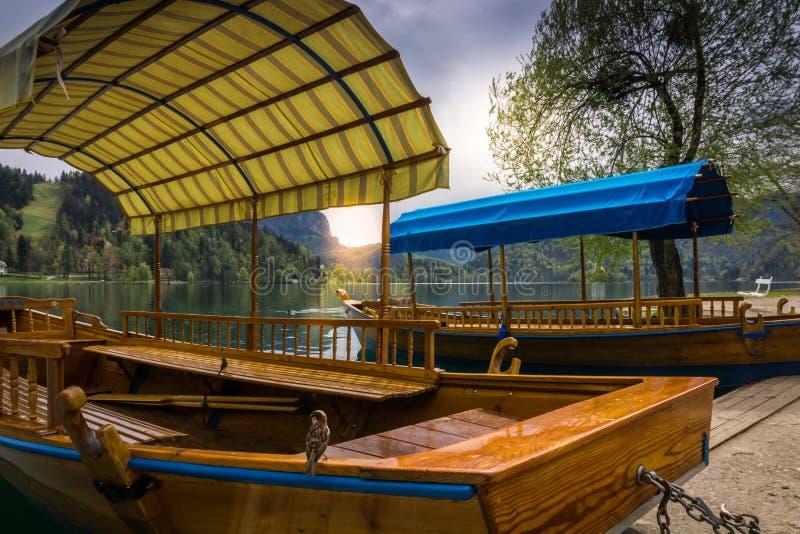 Barche a remi sul lago sanguinato fotografie stock libere da diritti