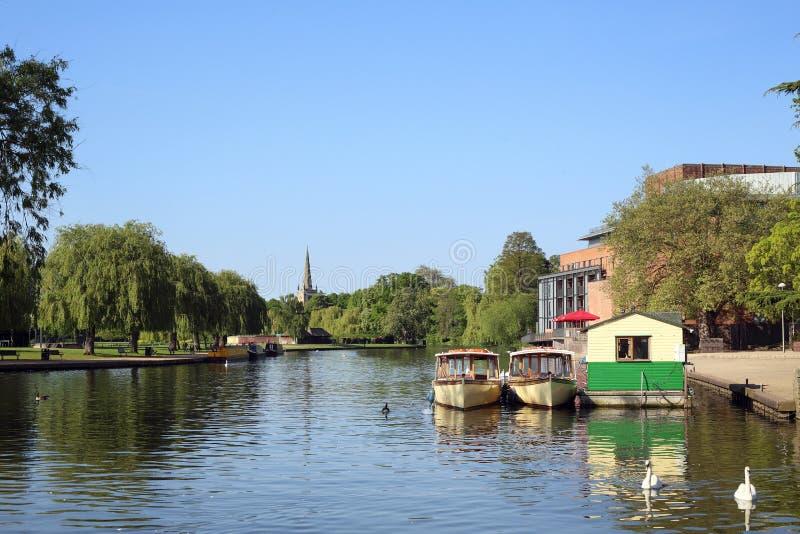 Barche sul fiume a Stratford-sopra-Avon fotografia stock libera da diritti