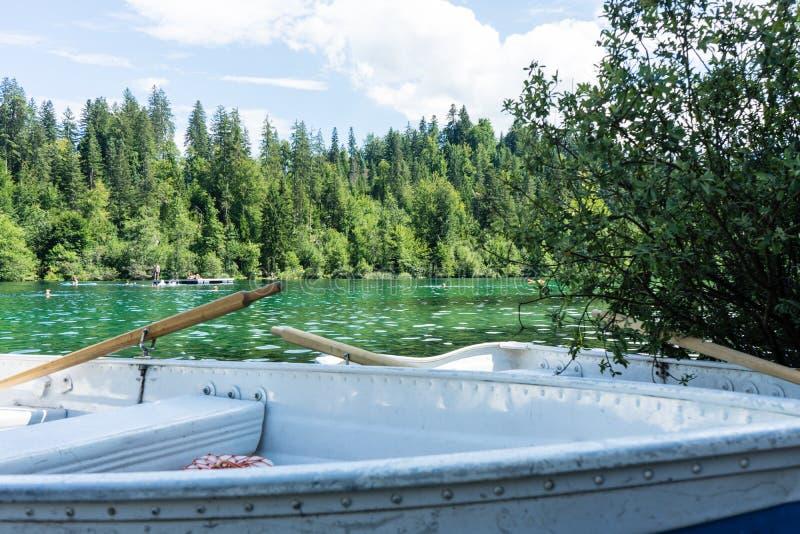 Barche sul lago di crestasee pronto per l'uso immagine stock