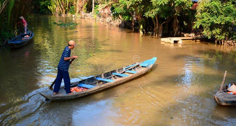 Barche tradizionali Ben Tre Regione di delta del Mekong vietnam immagine stock libera da diritti
