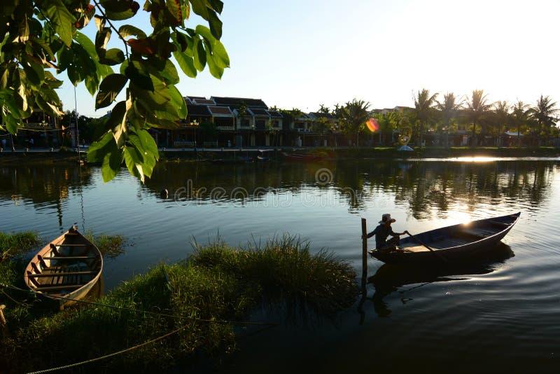 Barche tradizionali Hoi una città antica vietnam fotografia stock libera da diritti