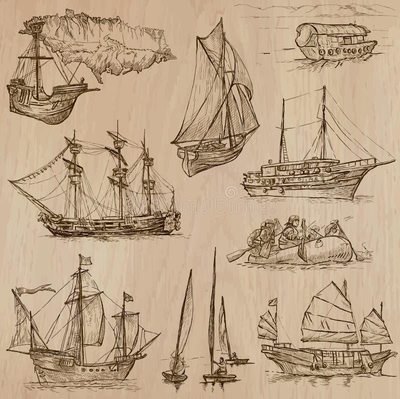 Barche - un pacchetto disegnato a mano di vettore illustrazione vettoriale