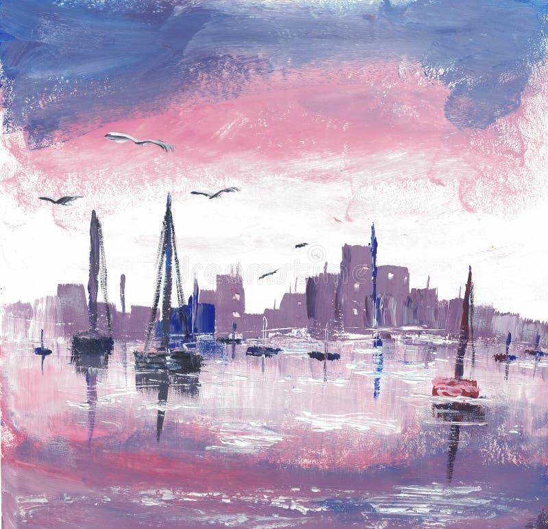 Barche in un porto dipinto con gli acrilici illustrazione vettoriale