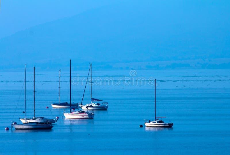 Barche a vela alla diga di Hartebeespoort fotografie stock