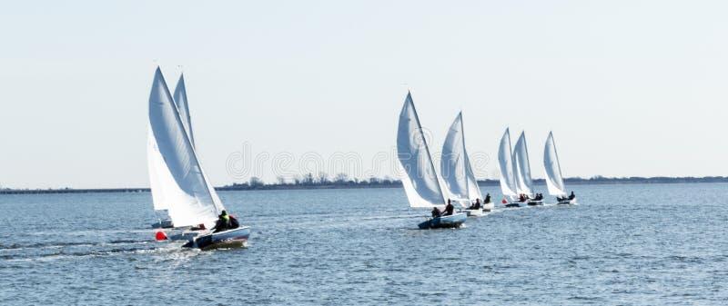 Barche a vela che corrono in una regata nell'inverno fotografia stock libera da diritti