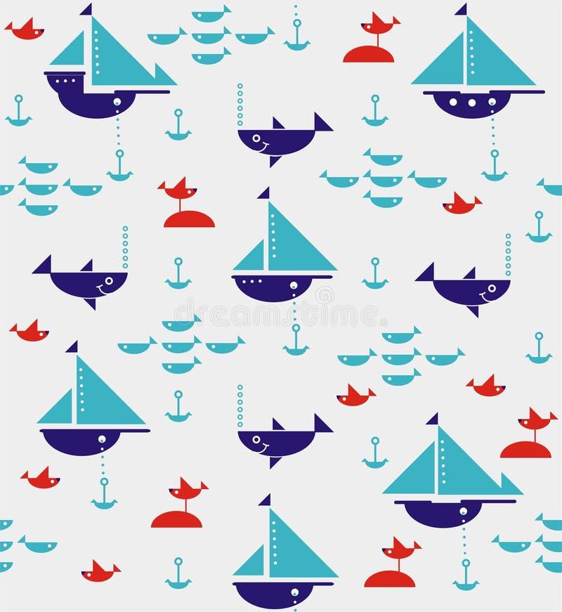 Barche a vela con le ancore, gli squali, il pesce ed i gabbiani di mare illustrazione di stock