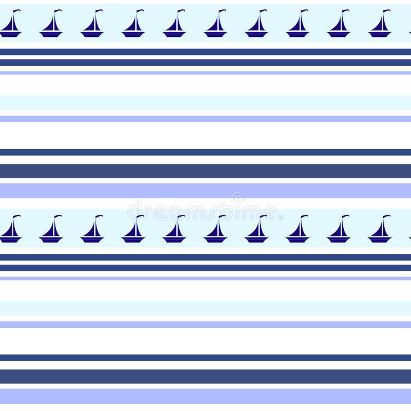 Barche a vela e bande astratte modello senza cuciture, tessuto, progettazione di superficie royalty illustrazione gratis