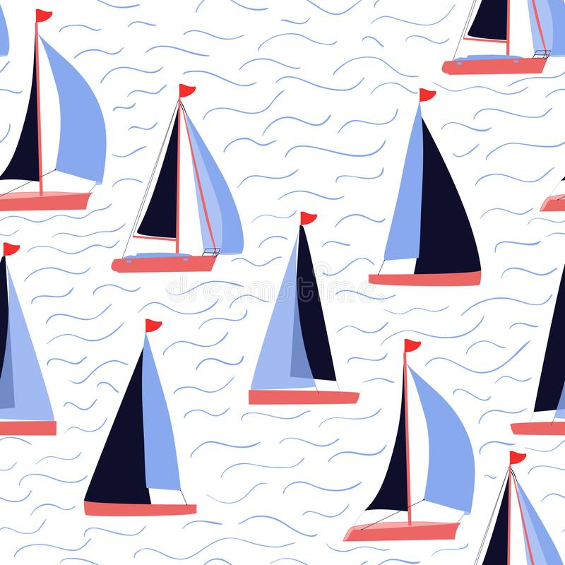 Barche a vela e stampa nautica di ripetizione di vettore di onde royalty illustrazione gratis