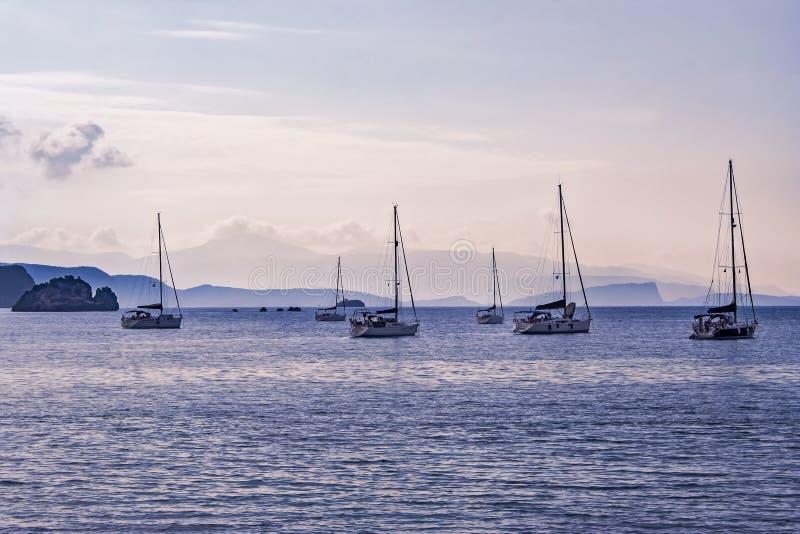 Barche a vela in porto al tramonto fotografia stock libera da diritti