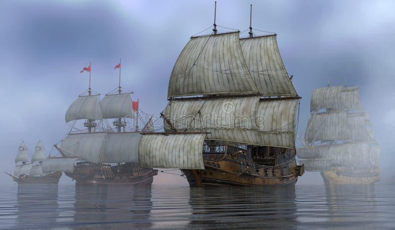 Barche a vela sull'illustrazione del mare 3D royalty illustrazione gratis