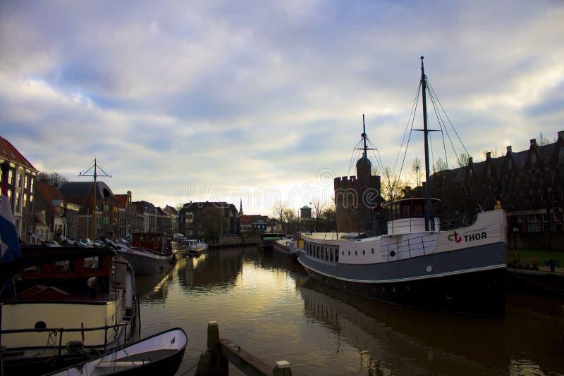 Barche in Zwolle fotografia stock