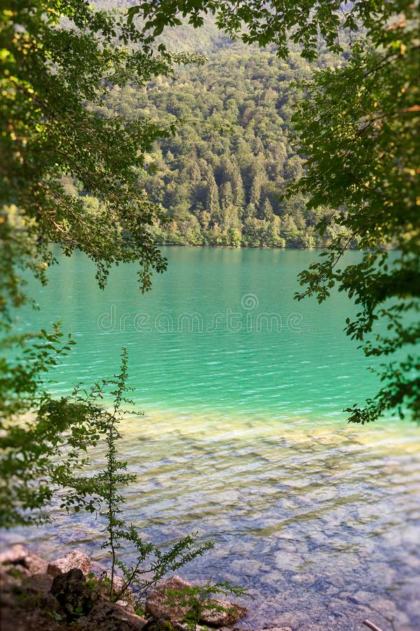Barcis, Pordenone, Italy a picturesque place by the lake.  stock photo