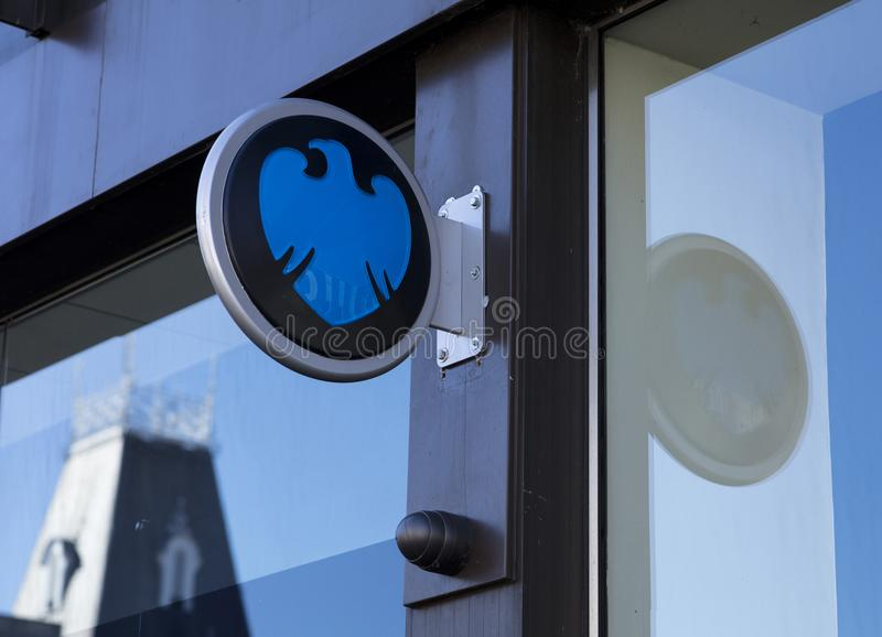 Barclays bank sign and logo stock image