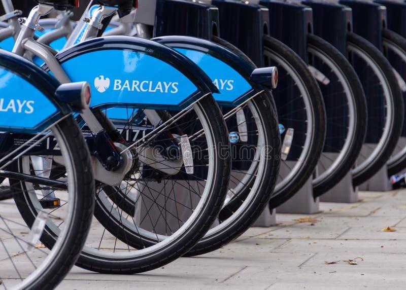 Barclays bikes in London stock photos