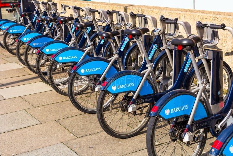 Barclays Boris Bikes in London stock photography