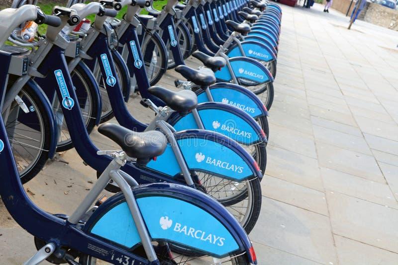 Barclays cicla il noleggio fotografia stock libera da diritti