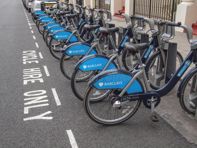 Barclays-Fahrräder lizenzfreies stockfoto