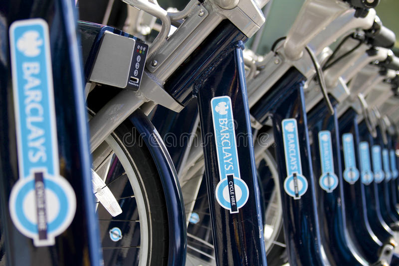 Barclays-Fahrräder - London lizenzfreie stockfotos