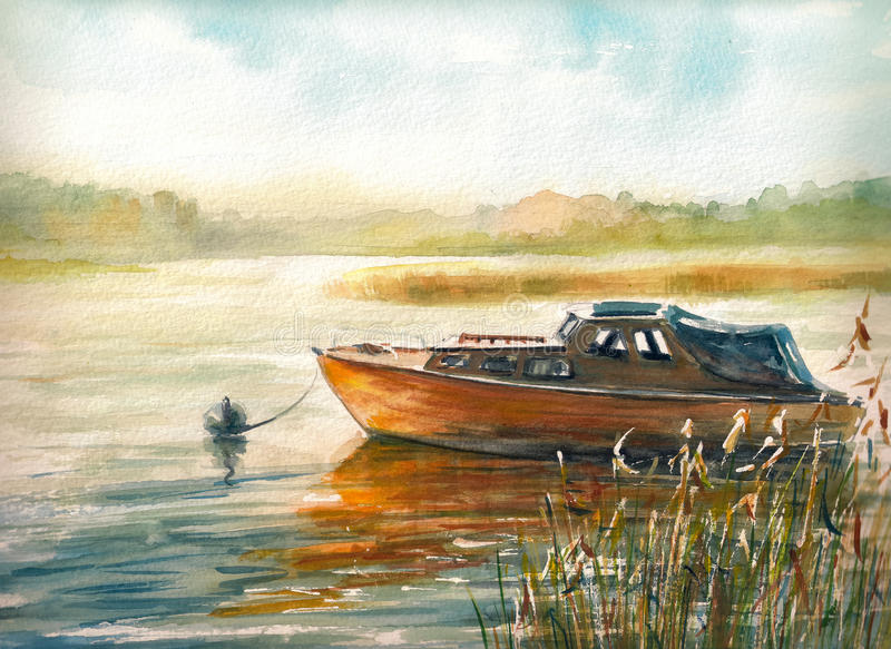 barco ilustração stock