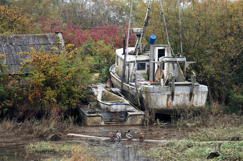 Barco abandonado fotos de archivo libres de regalías