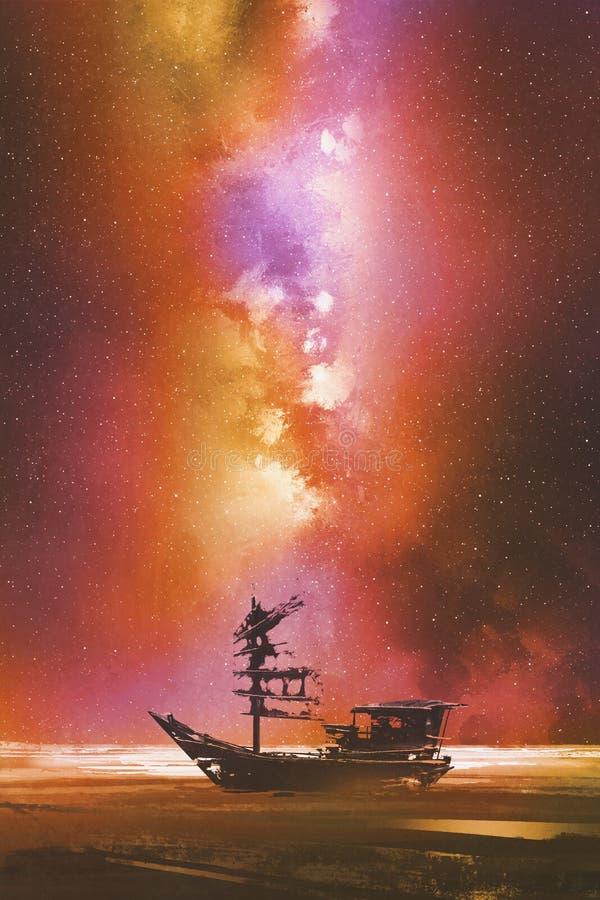 Barco abandonado contra o céu stary com Via Látea ilustração stock