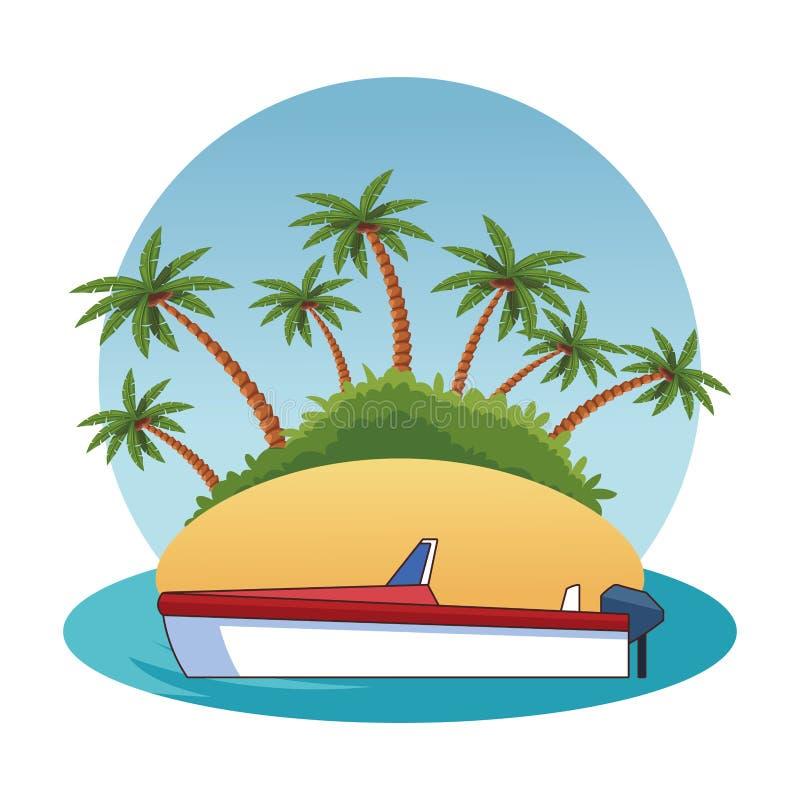Barco atracado en una historieta del icono de la isla libre illustration