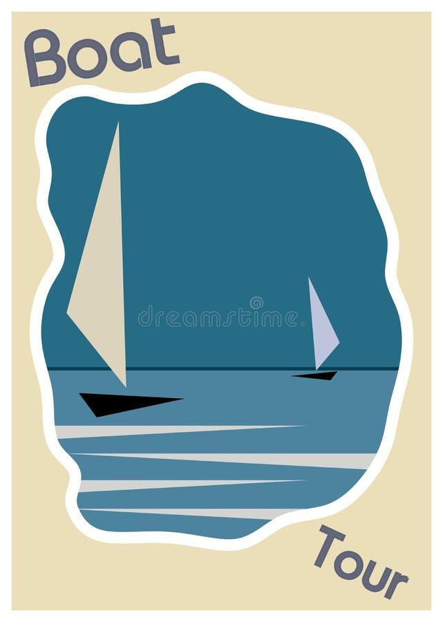 Barco azul en plantilla del marco del cartel del vintage del agua ilustración del vector