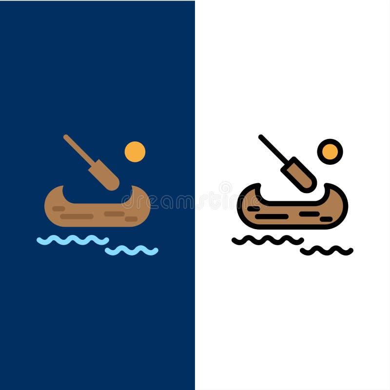 Barco, caiaque, ícones de Canadá O plano e a linha ícone enchido ajustaram o fundo azul do vetor ilustração royalty free