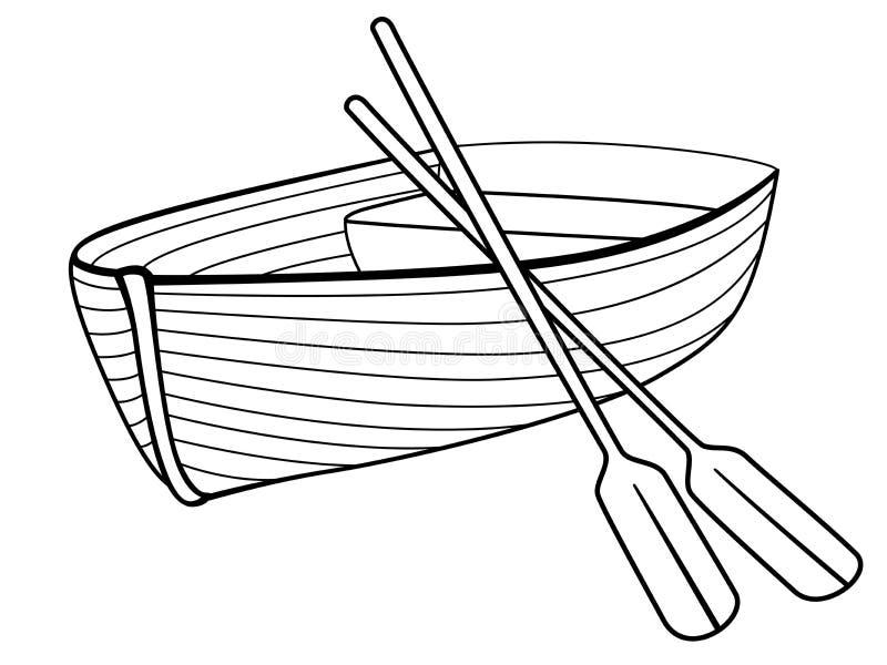 Barco com remos Barco de enfileiramento para caminhadas rom?nticas no lago ou no mar Barco salva-vidas feito da madeira ilustração royalty free
