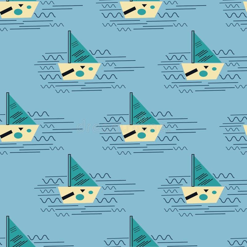 Barco com símbolos na onda do mar Ilustração do Bauhaus ilustração royalty free