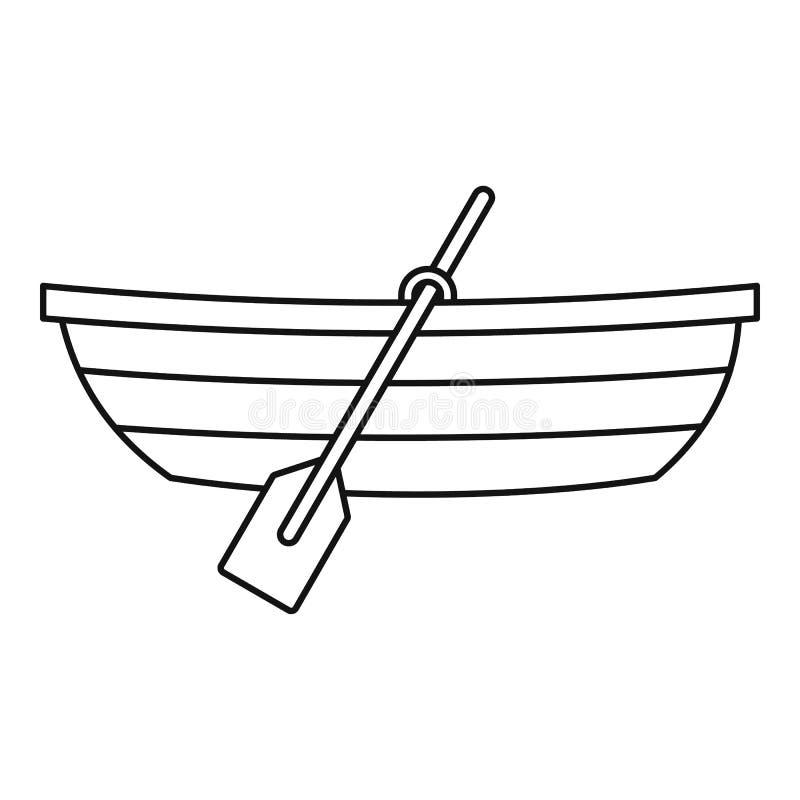 Barco con el icono de las paletas, estilo del esquema stock de ilustración