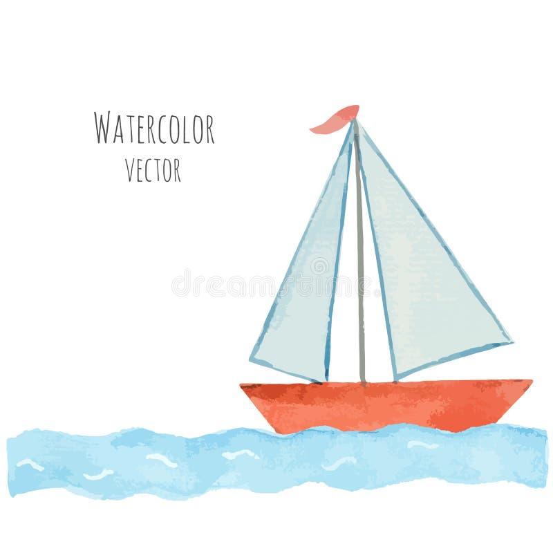 Barco da aquarela com uma bandeira nas ondas azuis ilustração do vetor