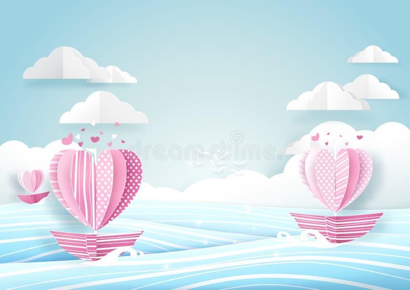 Barco da forma do coração no céu do mar e da nuvem Conceito do amor ilustração stock