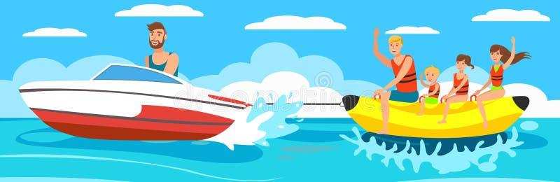 Barco de banana da ilustração do vetor com grupo ilustração stock