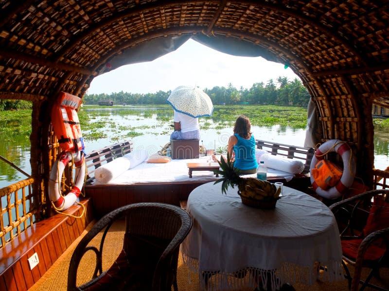 Barco de casa em Kerala, india fotos de stock royalty free
