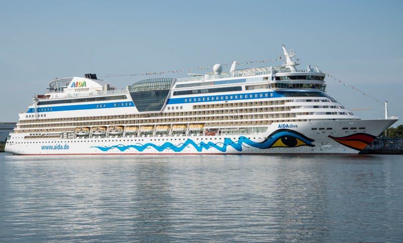 Barco de cruceros de Aida Diva imágenes de archivo libres de regalías