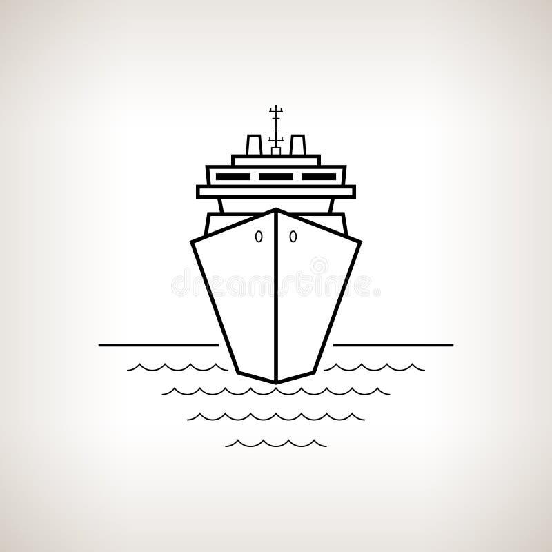 Barco de cruceros de la silueta en un fondo ligero ilustración del vector