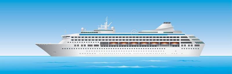 Barco de cruceros en el océano stock de ilustración