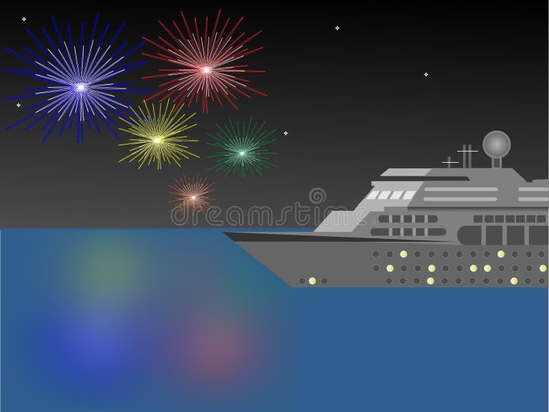 Barco de cruceros en la noche con los fuegos artificiales fotos de archivo libres de regalías