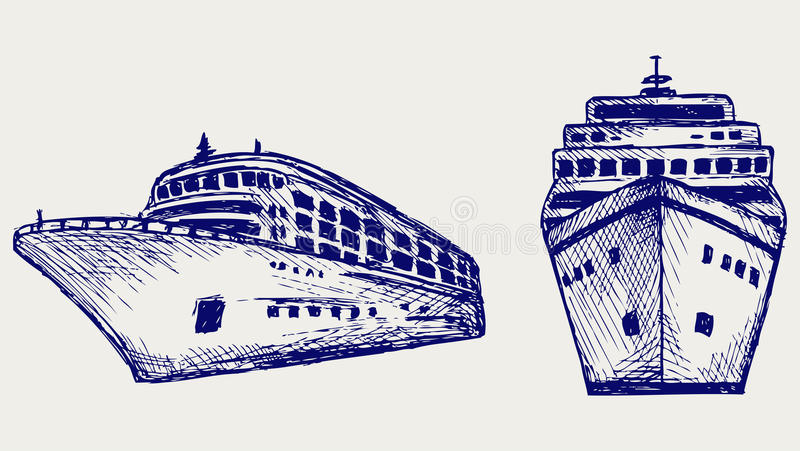 Barco de cruceros. Estilo del Doodle libre illustration