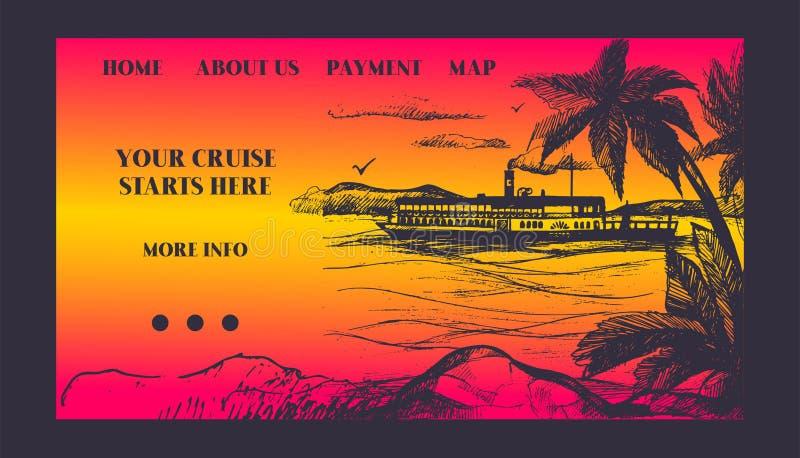 Barco de cruceros para el ejemplo del vector del viaje del verano Cruiseliner de la vía marítima en el mar cerca de Palm Beach Ej stock de ilustración